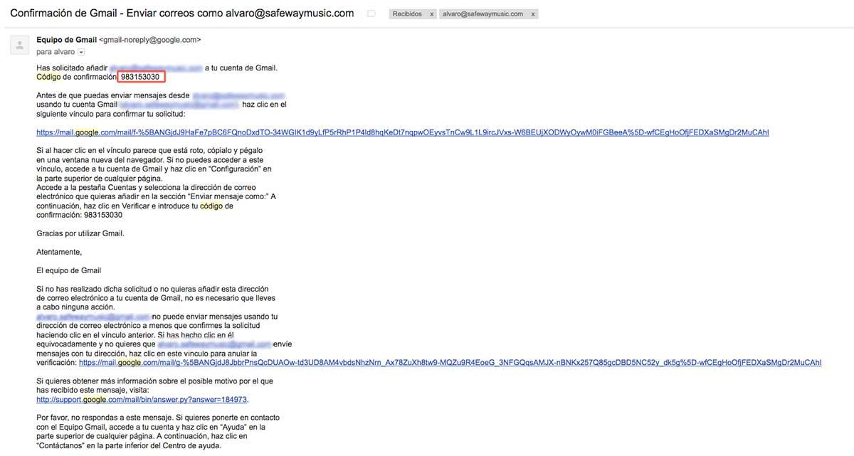 código de confirmación para asociar correo corporativo con gmail