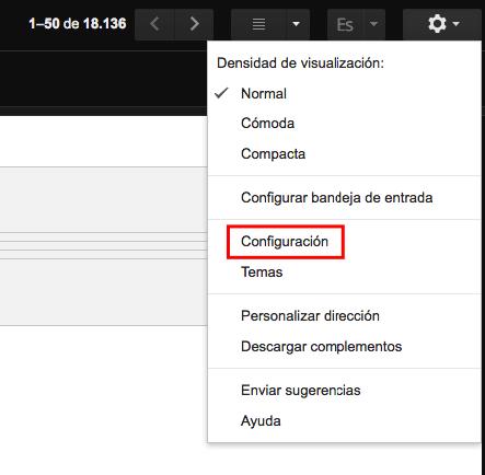 configuracion cuentas gmail
