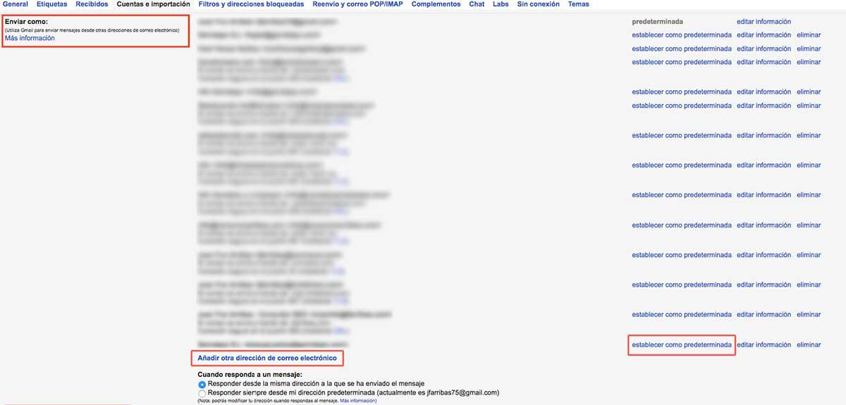 Enviar como cuenta corporativa desde gmail