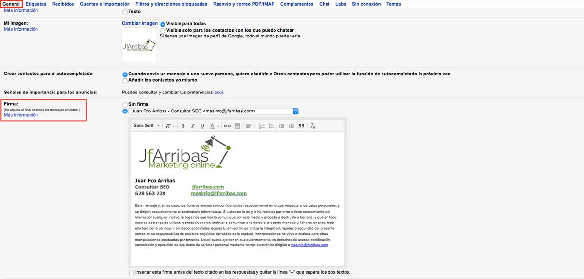 añadir firma en correos corporativos de gmail
