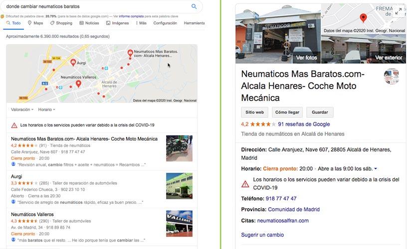 dónde aparece la ficha de google my business